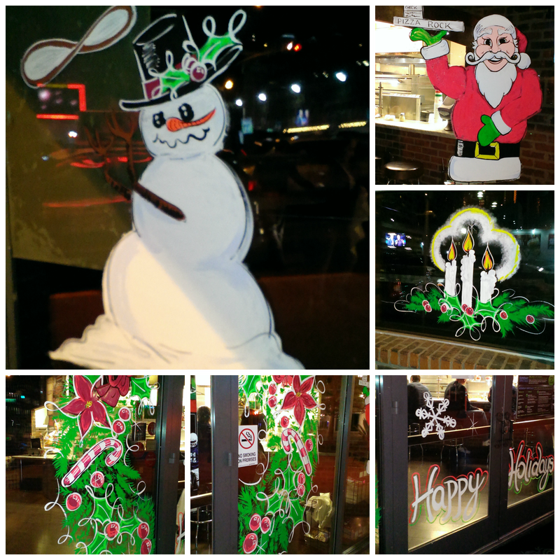 Pizza Rock Downtown Las Vegas, Nevada Christmas Window Painting Image Collage - Image and art M Burgess