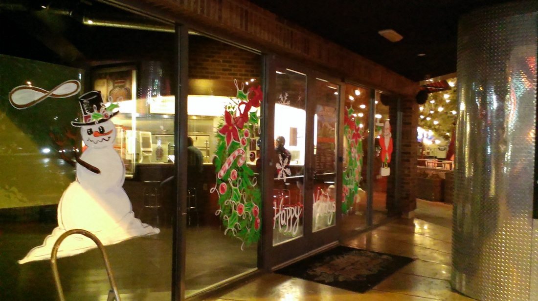 Full window painting theme - Pizza Rock Downtown Las Vegas
