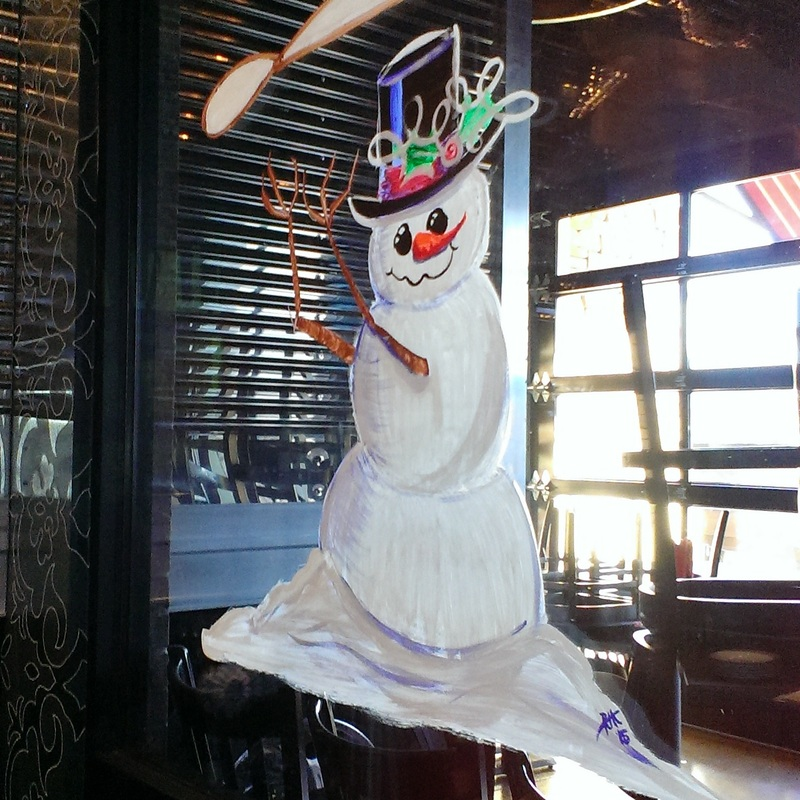 Dough tossing snowman - window painting art and image: M Burgess
