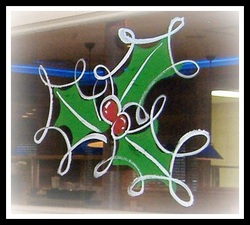 window painting - holly leaf decoration
